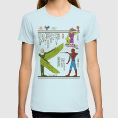 Hero-glyphics: Web-Slinger  Womens Fitted Tee Light Blue SMALL