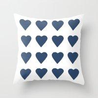 16 Hearts Navy Throw Pillow