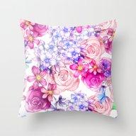 Pink Trendy Modern Water… Throw Pillow