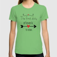 Love Is To Listen Womens Fitted Tee Grass SMALL