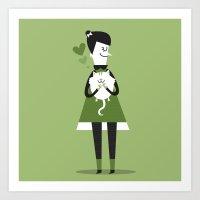 Cat lover Art Print