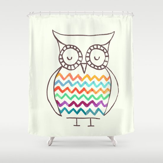 Owl Chevron Shower Curtain
