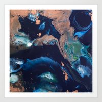 Color Commentary #14: Patina (Blue & Copper, Painter's Choice) [Debi Vaught-Thelin] Art Print