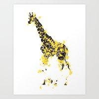 Flaming Giraffe Art Print