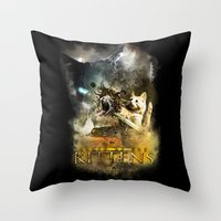 Clash Of The Kittens  Throw Pillow