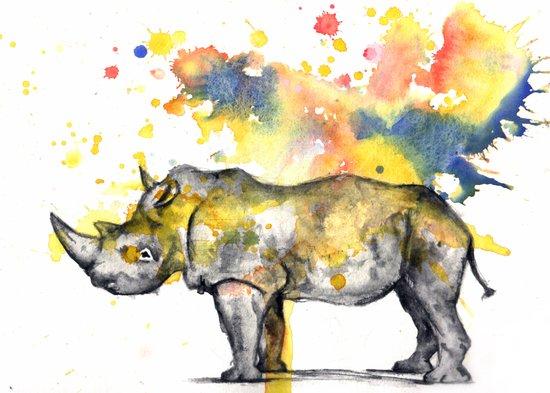 Rhino in a Splash of Color Canvas Print
