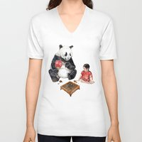 V-neck T-shirt featuring Playing Go with Panda by Goosi