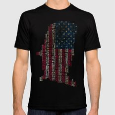 United States Flag Map With Major Cities SMALL Mens Fitted Tee Black