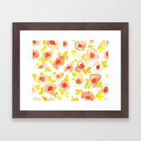 Peach And Lime Floral Framed Art Print
