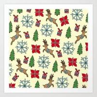 Reindeer And Poinsettias Art Print