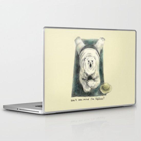 Don't you mind I'm topless? // polar bear Laptop & iPad Skin