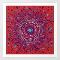 Red And Blue Mandala  Art Print