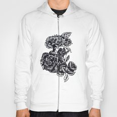 Peonies, black & white  Hoody