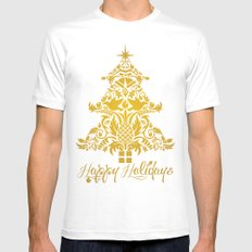 Ornate Pineapple Holiday Tree Mens Fitted Tee White SMALL