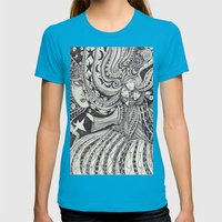 La Lune Womens Fitted Tee Teal SMALL