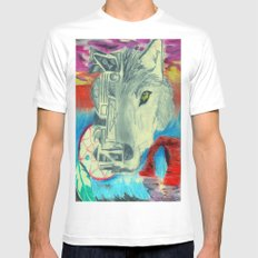 Desert Wolf White SMALL Mens Fitted Tee