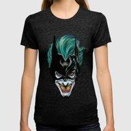 Joker - Darkest Knight  Womens Fitted Tee Tri-Black MEDIUM