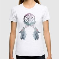 wolf moon Womens Fitted Tee Ash Grey SMALL