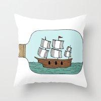 Ship in a Bottle Throw Pillow