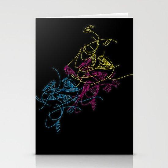 birds doodle in cmyk Stationery Card