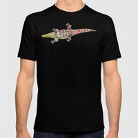 crocodile coral Mens Fitted Tee Black SMALL