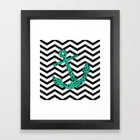 Mint Leopard Chevron Anc… Framed Art Print