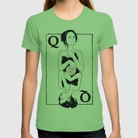 Queen of Hearts Womens Fitted Tee Grass SMALL