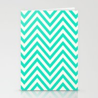 Turquoise Chevron Stationery Cards