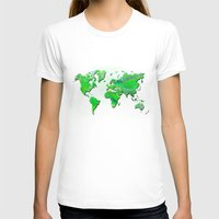 world map T-shirts featuring World Map by Roger Wedegis