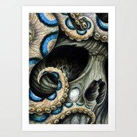 Blue Ring Skull Art Print