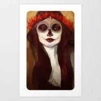 sugar skull Art Prints featuring Sugar Skull by LaurenceBaldetti