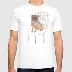Pug on a chair White SMALL Mens Fitted Tee
