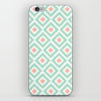 Mint And Coral Diamonds … iPhone & iPod Skin