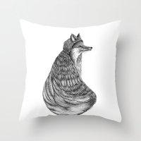 Fox- Feathered. Throw Pillow