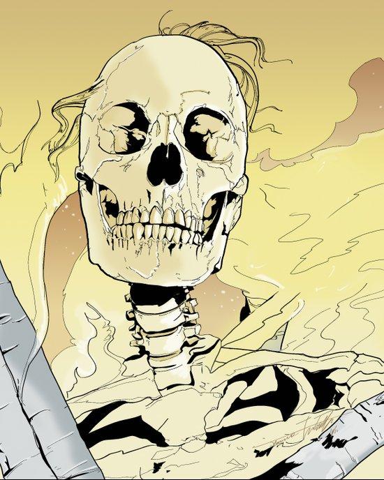Skeleton on Fire Art Print