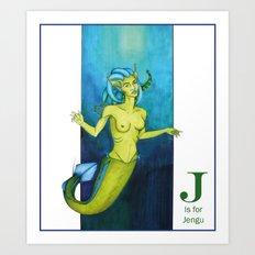 J is for Jengu Art Print