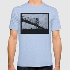 News Feed , Newspaper Bridge Collage, night silhouette cityscape news paper cutout, black and white  Mens Fitted Tee Athletic Blue SMALL