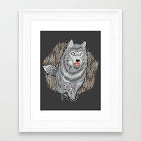 Husky in Winter Framed Art Print