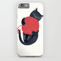Black cat Red yarn Slim Case iPhone 6s