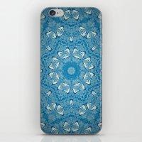 Wisdom is a Butterfly -- Bohemian Mandala in Vintage Ivory on Blue Duotone iPhone & iPod Skin