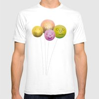 Happy Balloons Mens Fitted Tee White SMALL