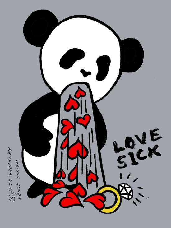 LOVESICK PANDA - grey Art Print