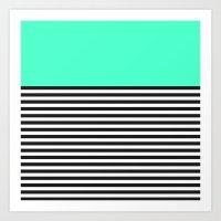 STRIPE COLORBLOCK {MINT/TEAL} Art Print