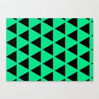 Canvas Print featuring Sleyer Black on Green Pattern by Stoflab