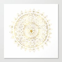 Gold Hand Drawn Mandala Canvas Print