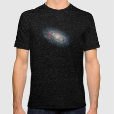 We Are Here! Galactic Location Mens Fitted Tee Tri-Black SMALL