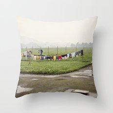 on a line::rwanda Throw Pillow