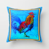 Throw Pillow featuring Colorful Rooster Paintin… by SharlesArt