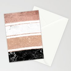 Faux rose gold glitter modern marble stripes pattern Stationery Cards
