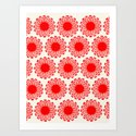 Vintage Flower-Red Art Print